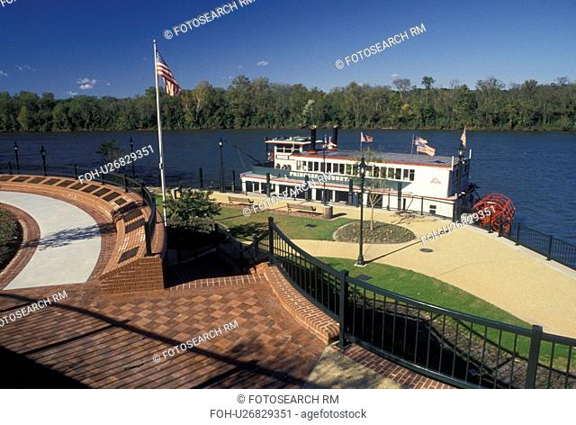 riverboat, waterfront, Augusta, GA, Georgia, Princess Augusta docked along the Riverwalk on the Savannah River in Augusta