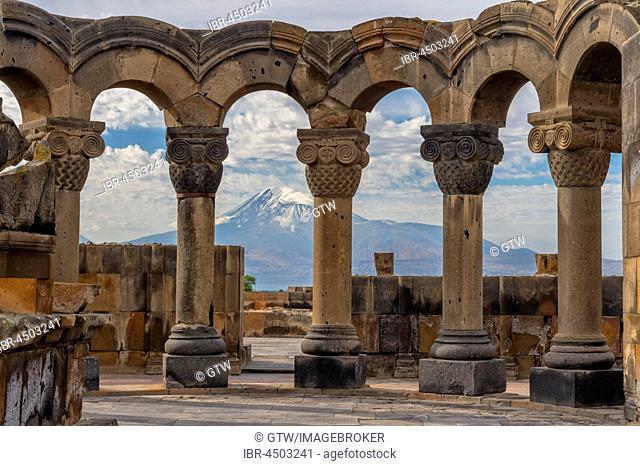 Zvarnots ruins, Zwartnots temple or St Gregory Cathedral, Mount Ararat in Turkey behind, Yerevan, Armavir Province, Armenia