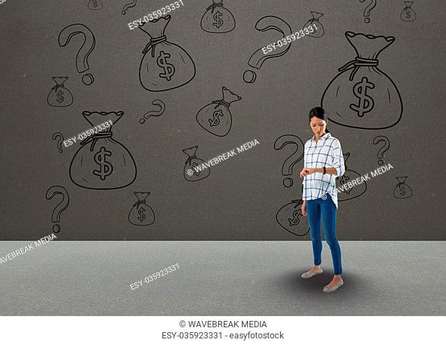 woman looking on watch in front of money on wall