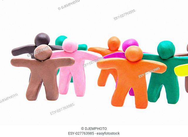 Crowd group of colourful plasticine humans on the white