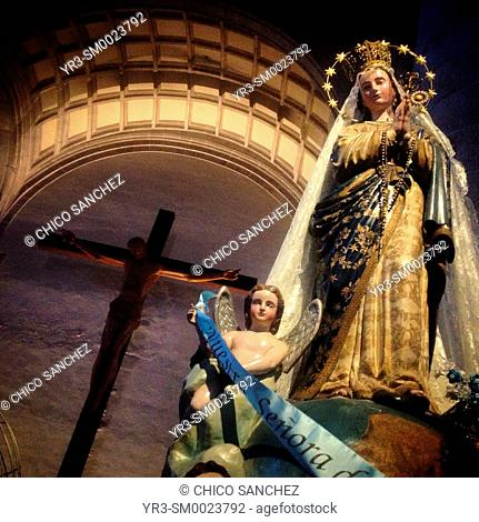 Sculptures of Jesus Christ and Our Lady of Yucatan, Patroness of Yucatan, in the Cathedral of Merida, Yucatan, Mexico
