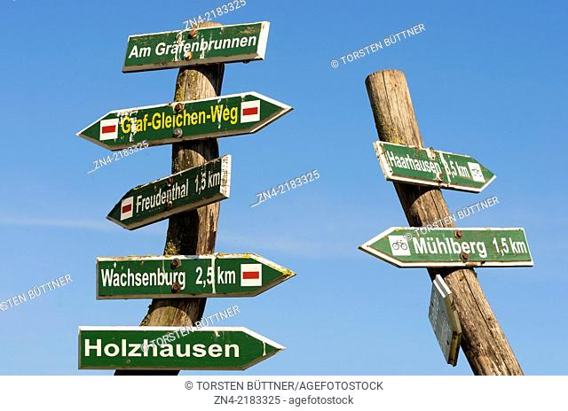 Hiking Trail Sign near the Drei-Gleichen-Castle Ensemble in Thuringia, Germany