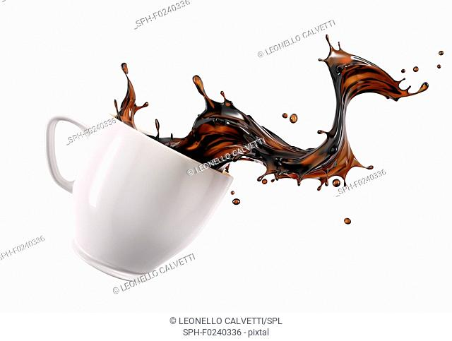 Liquid coffee wave splashing out from a white cup mug, isolated on white background