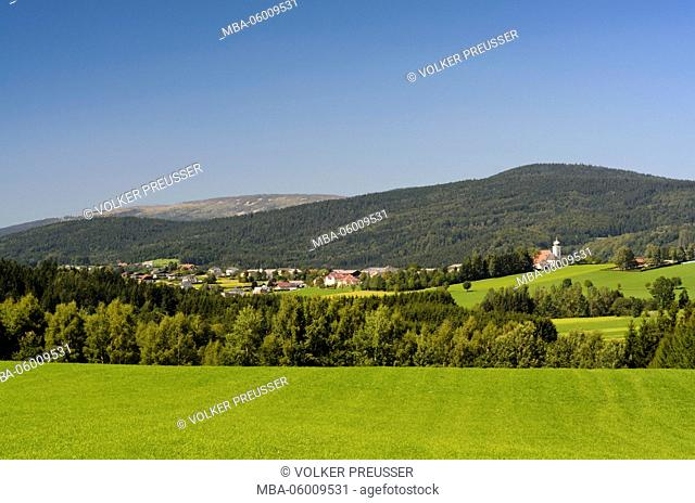 Klaffer in the Hochficht and the Bohemian Forest with mountain Hochficht (on the right), Austria, Upper Austria, Mühlviertel, Klaffer in the Hochficht