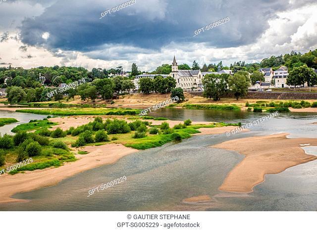 SANDBANK, CHURCH OF LA GRANDE BRETECHE, TOURS, INDRE ET LOIRE, (37), CENTRE VAL DE LOIRE REGION, FRANCE