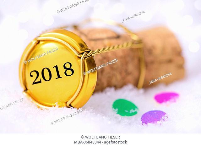 Champagne cork, muselet cap, year 2018