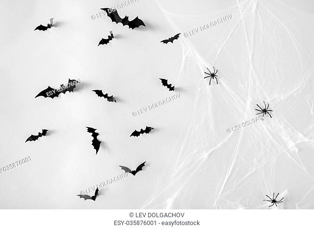 halloween decoration of bats and spiders on web
