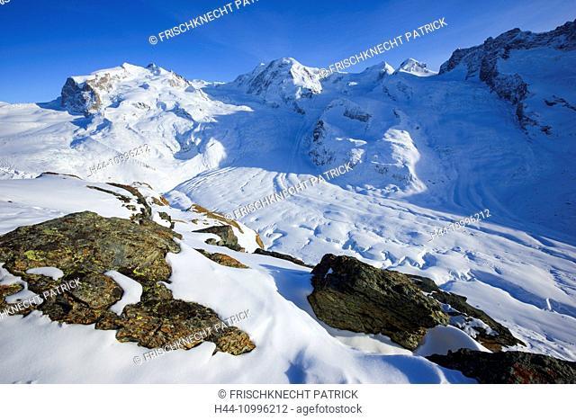 Monte Rosa - 4633 ms, Dufourspitze - 4634 ms, Liskamm - 4527 ms, Valais, Switzerland