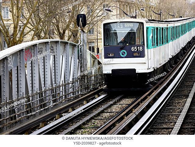 Parisian metro arriving to Quai de la Gare station, Paris, France