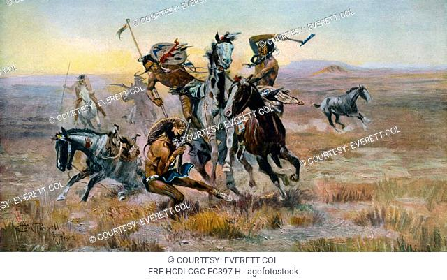When Sioux and Blackfeet Met, battle between the Sioux and Blackfeet Indians, photomechanical print, by Charles M. Russell, 1902