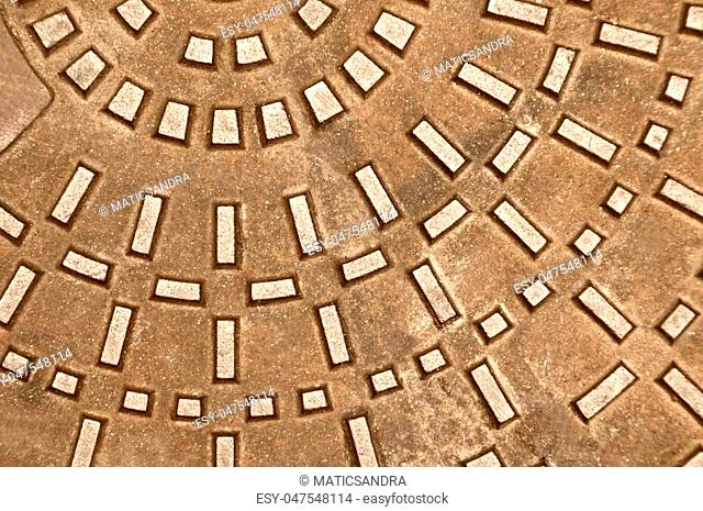 Cast iron manhole :background or texture