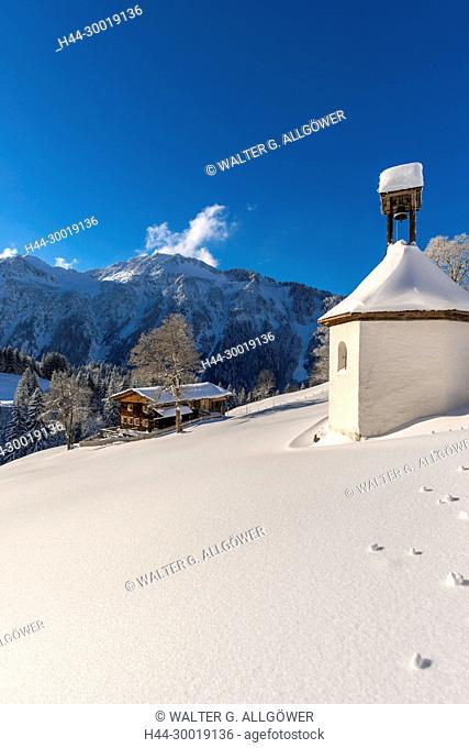 Germany, Bavaria, Snow, Mountains, Chapel, Alps
