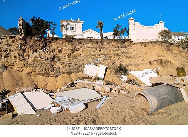 Natural disaster, Mazagon beach after strong storms of winter 2010, Palos de la Frontera, Huelva-province, Spain