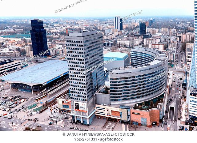 Panorama of Srodmiescie district of Warsaw, Srodmiescie - Downtown is the center of Polish capital, on left Warszawa Centralna - Warsaw Central Railway station...