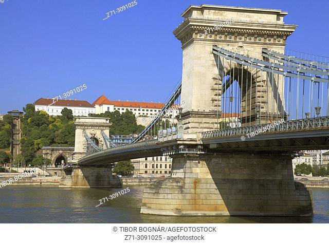 Hungary, Budapest, Chain Bridge, Lánchíd, Danube River,