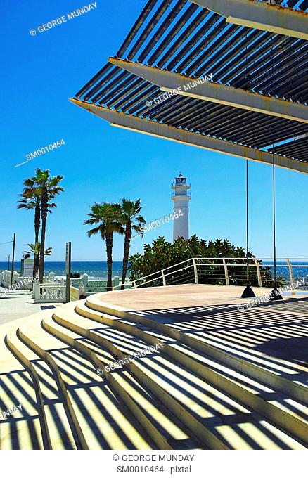 El Faro Lighthouse and Balcon on the Seafront at Torrox Costa, Costa del Sol, Malaga, Spain