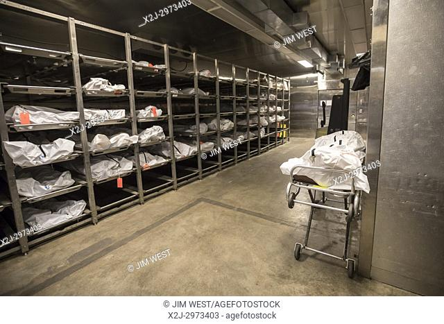 Tucson, Arizona - The morgue at the office of the Pima County Medical Examiner. Many of the corpses stored here are of unidentified migrants who died crossing...