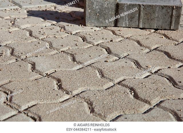 brick pavement, new street construction in suburbia