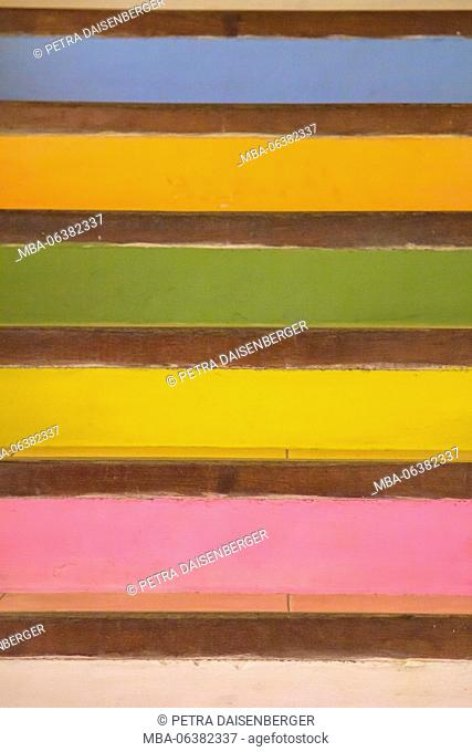 colourful cross stripes, cut out of stairs