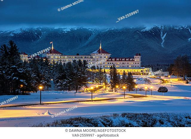 Mount Washington Hotel covered in snow at Twilight, Bretton Woods, New Hampshire