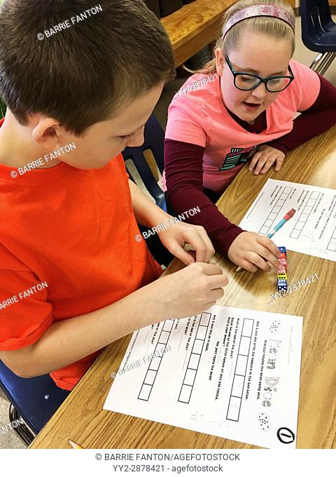 6th Graders Working on Math Problem, Wellsville, New York, USA