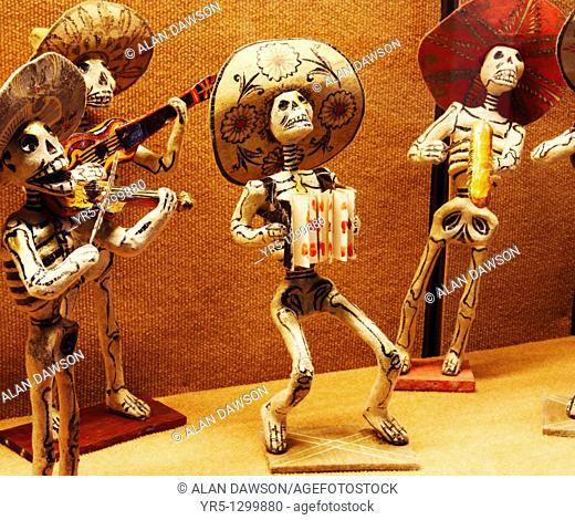Mexican skeleton dolls depicting 'Dia de Los Muertos' Day of the Dead celebrations