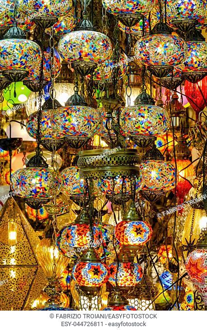Close up shot of a hanging mosaic lamp
