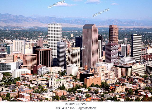 Aerial of Denver Colorado Skyline from Capitol Hill