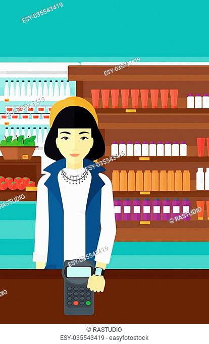 An asian woman with smart watch on the wrist making payment transaction on the background of supermarket shelves with products vector flat design illustration