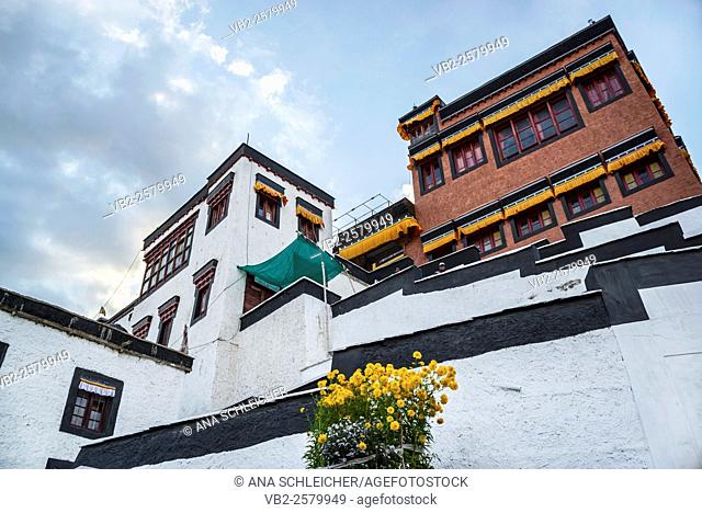 Monks buildings in Thicksay gompa, Ladakh, India