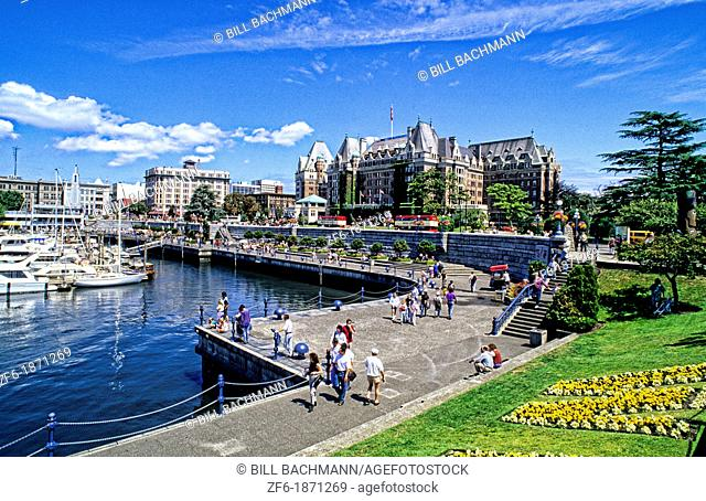 Beautiful Victoria City Center in British Columbia at the harbour