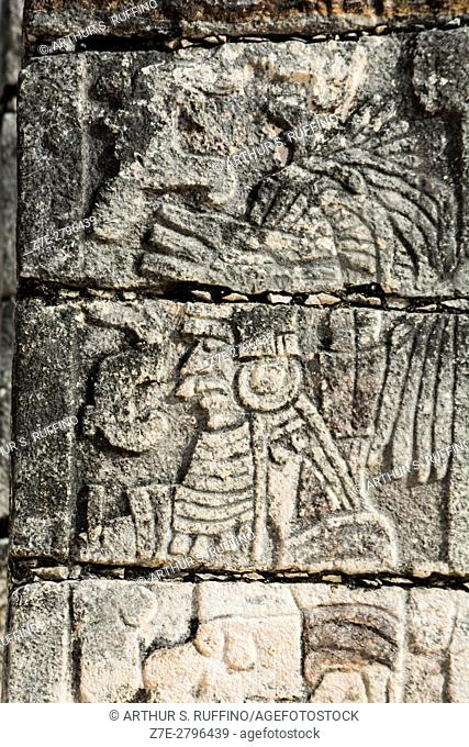Carved pillar, Temple of the Warriors (Templo de los Guerreros), Chichen Itza, Mayan archaeological site, UNESCO World Heritage Site, Yucatan State, Mexico