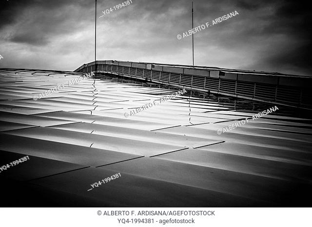 Santander Sports Palace. black and white view of the rooftop