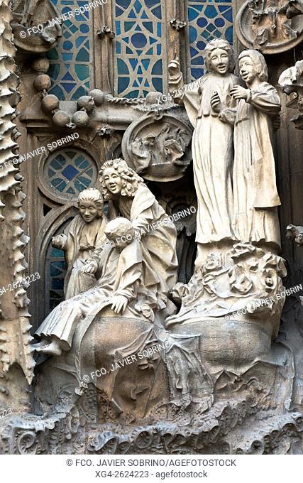 Portico of Charity, Nativity façade. Sagrada Familia, Barcelona, Catalonia, Spain