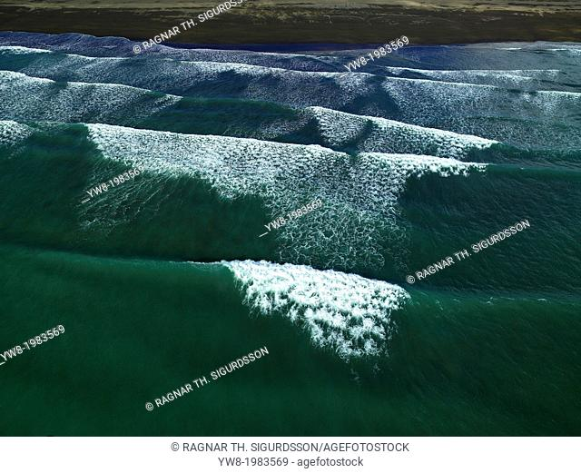 Aerial of the waves, Iceland