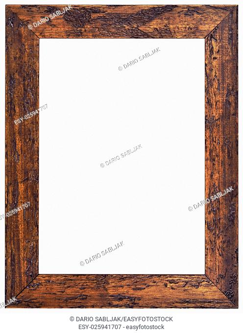 Old Carved Wooden Frame Isolated with Clipping Path
