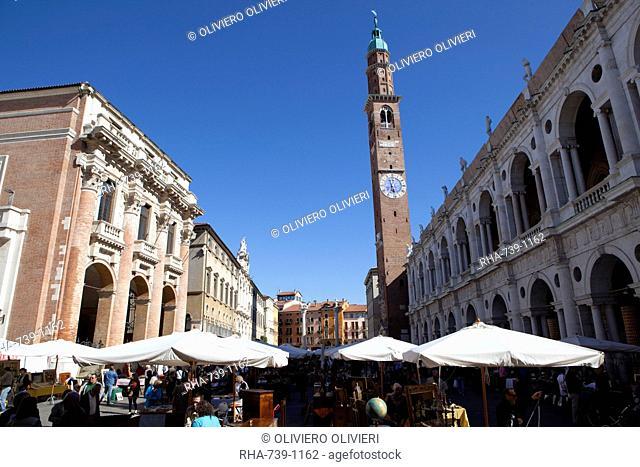 Piazza dei Signori and the Bissara tower, Vicenza, Veneto, Italy, Europe