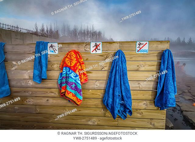 Towels hanging at The Secret Lagoon, Fludir, Iceland