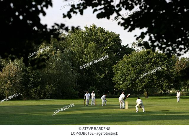 England, Wiltshire, Salisbury, A cricket match being played in a park near Salisbury Cathedral