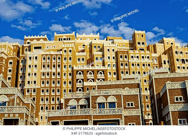United Arab Emirates, Dubai, the Palm Jumeirah, building with Yemen style of architecture