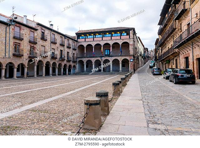 Town Hall and Main Square, Sigüenza, Guadalajara province, Castile La Mancha, Spain. Historical Heritage Site