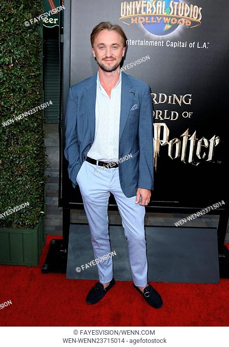 """Universal Studios Hollywood Hosts The Opening Of """"""""The Wizarding World Of Harry Potter"""""""" Featuring: Tom Felton Where: Universal City, California"""