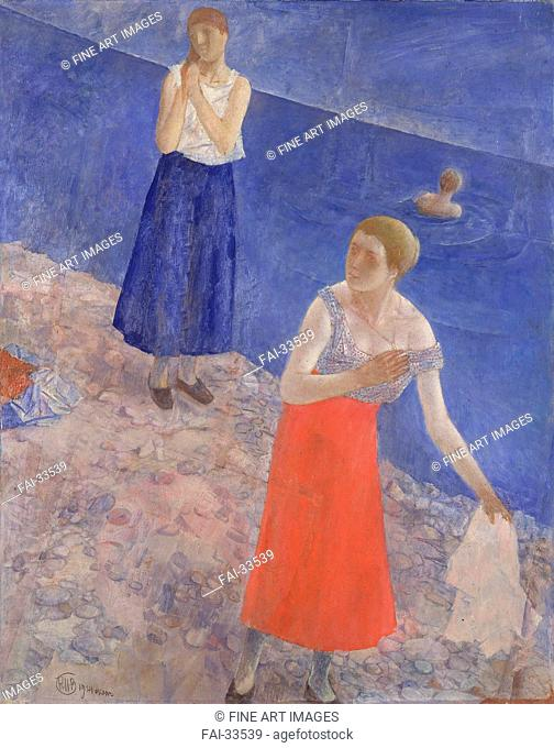 Seashore by Petrov-Vodkin, Kuzma Sergeyevich (1878-1939)/Oil on canvas/Russian Painting, End of 19th - Early 20th cen./1924/Russia/State Hermitage, St