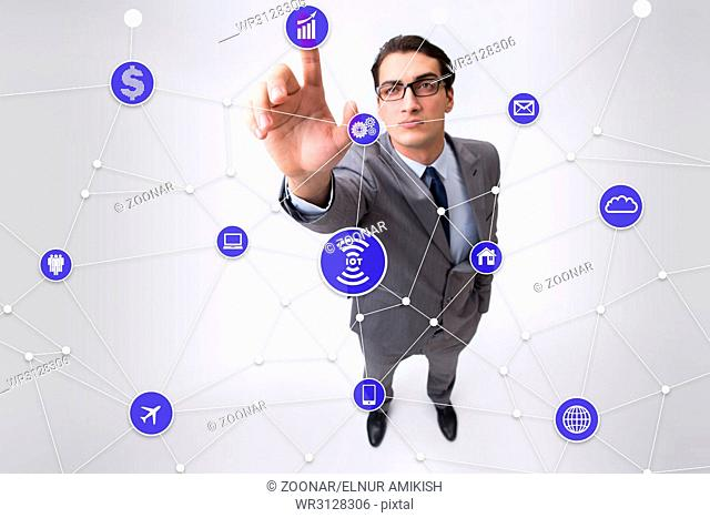 The internet of things concept with businessman