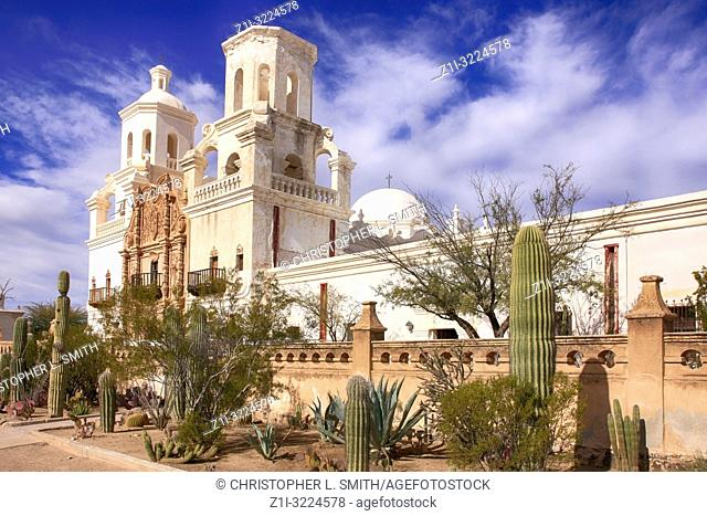 The Mission Church of San Xavier del bac in Tucson, Arizona, USA