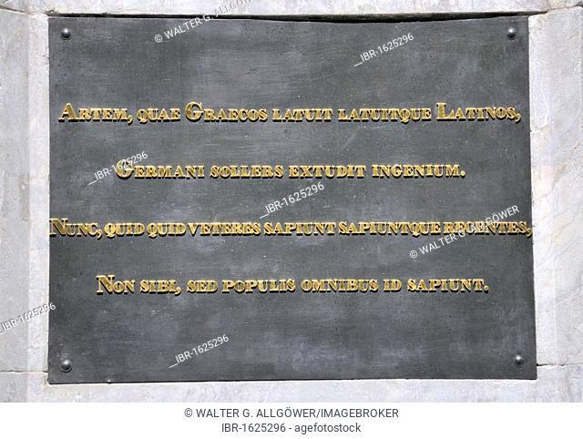 Inscription on the back of the memorial to Johannes Gutenberg by Bertel Thorvaldsen, Gutenbergplatz square, Mainz, Rhineland-Palatinate, Germany, Europe