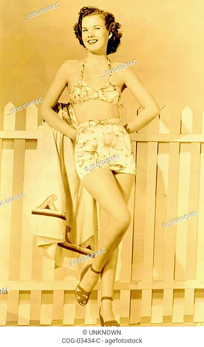 The American actress Gale Storm in a swimsuit
