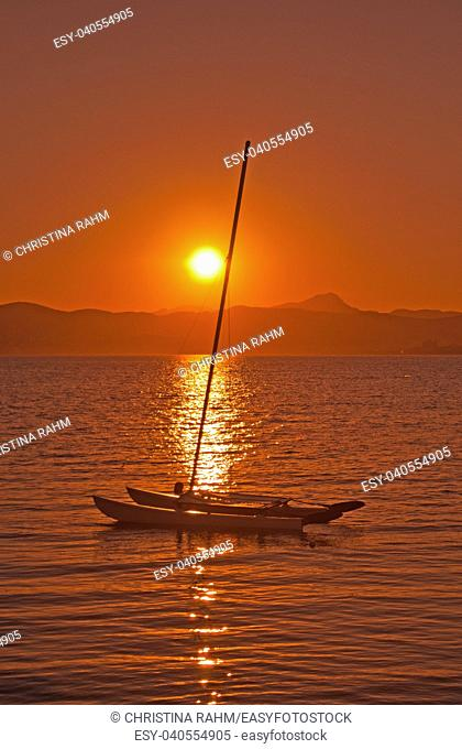 Beautiful romantic red summer sunset over Palma bay in Mallorca, Spain