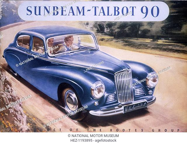 Poster advertising a Sunbeam-Talbot 90, 1950. A man and woman driving along a road