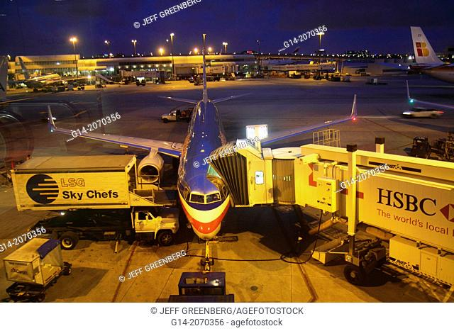 Florida, Miami, Miami International Airport, MIA, American Airlines, gate area, tarmac, commercial airliner, night,